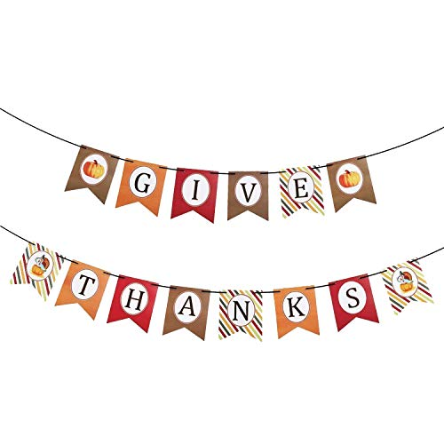 - KatchOn Give Thanks Banner Stripe Style - No DIY Required, Sturdy Cardstock | Great for Thanksgiving Day Garland, Fall Autumn Themed Birthday Backdrop, Baby Bridal Shower, Home Office Décor, Outdoor