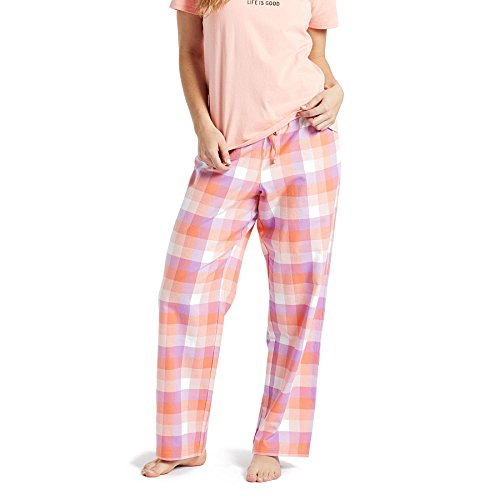 Life is Good Women's Plaid Classic Sleep Pant - Fresh Coral - X-Large ()