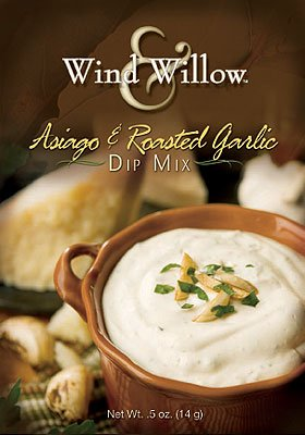 Wind and Willow Asiago & Roasted Garlic Dip Mix - .4 Ounce (4 Pack) by Wind & Willow