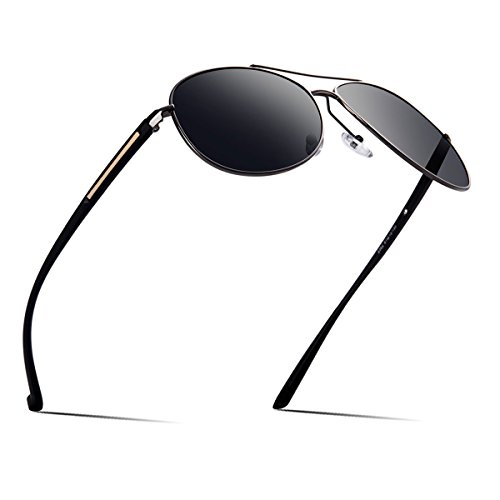 Dollger Mens Aviator Sunglasses Polarized Pilot Driving Fashion Black Mirrored Lens UV400 With - Pilot Polarized Sunglasses