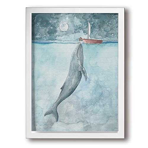 Colla Whale Sailboat Picture Photo Frames 12 X16inch Wall Art Paintings Easy to Hang for Living Room Bedroom Wall Or Table Decorate ()
