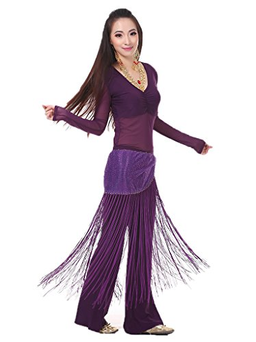 Bmeigo Belly Dance Professional Costume Set Tops Pants and Waist Chain (Belly Dance Costumes Large Ladies)