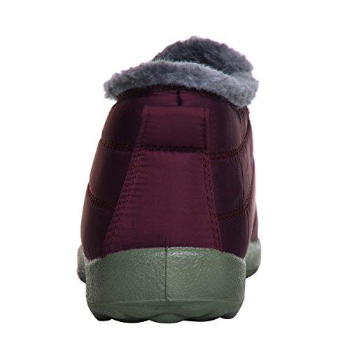 Caro Tempo Donne Inverno Neve Stivaletti Fodera In Pelliccia Impermeabile Allaperto Slip On Stivaletti Sneakers Donna Vino Rosso