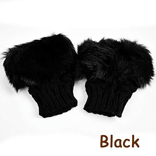 KOKOBUY 8 Colors Women Winter Rabbit Gloves Arm Warmer Fingerless Wrist Gloves Great Christmas Gift