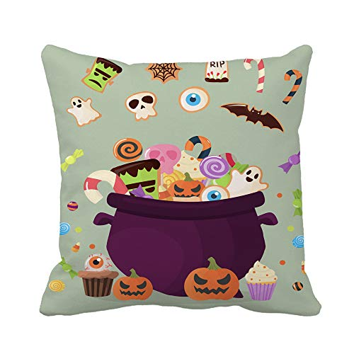 Awowee Throw Pillow Cover Halloween Party Cauldron Colorful Sweets Cupcakes Lollipops Jelly Beans 18x18 Inches Pillowcase Home Decorative Square Pillow Case Cushion Cover -
