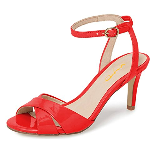 XYD Women Chic Cross Strap Slingback Ankle Strap High Heel Patent Buckle Sandal Pump Shoes Size 13 Red