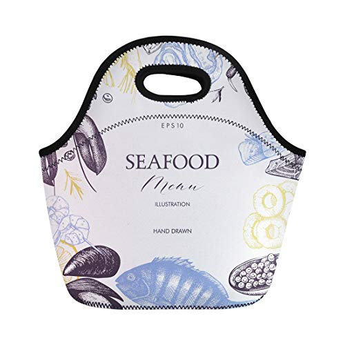 Semtomn Neoprene Lunch Tote Bag Platter Seafood Sea Food Vintage Restaurant Sketch Market Border Reusable Cooler Bags Insulated Thermal Picnic Handbag for Travel,School,Outdoors,Work ()