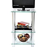RTA Home and Office TVM-005 Extra Tall Glass and Aluminum LCD/Plasma TV Stand and Utility Table or End Table for a 20 TV