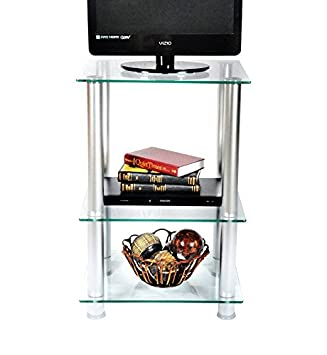 RTA Home and Office TVM-005 Extra Tall Glass and Aluminum LCD Plasma TV Stand and Utility Table or End Table for a 20 TV