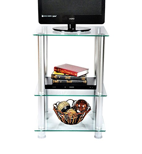Cheap RTA Home and Office TVM-005 Extra Tall Glass and Aluminum LCD/Plasma TV Stand and Utility Table or End Table for a 20″ TV