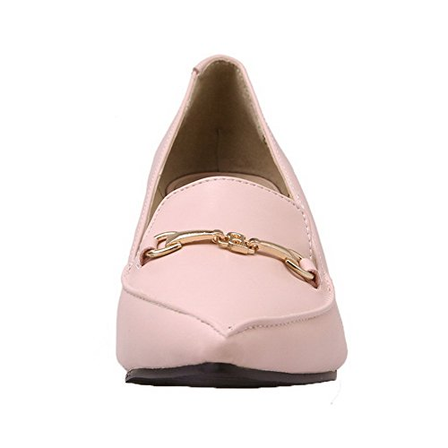 Solid Pumps Toe PU Shoes Pink Kitten Women's On 33 Pull Heels Odomolor Closed xzw6S8Anaq