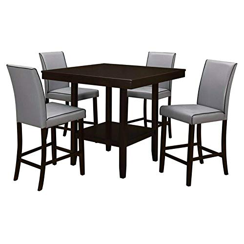 TGDMshop Table and Chairs/Wood Dining Style Size 40 x 40 x 36 inches Grey and Brown Color Set of 5 (Source Contract Furniture Outdoor)