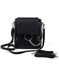 Gupiar Casual Women Crossbody Backpack Purse Small Pu Leather Shoulder Bag Ladies Cute Metal Chain Satchel Bag