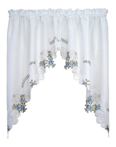 Today's Curtain Verona Reverse Embroidery Window Swag, 38-Inch, White/Blue - Verona CA50304P ()