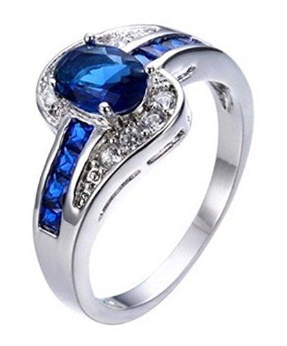 Fortonatori Blue Sapphire Oval Ring Engagement Promise Vintage Cubic Zirconia White Gold Filled - Bts V Sunglasses