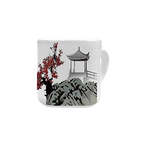 Asian Decor White Heart Shaped Mug,Asian River Scenery with Cherry Blossoms and Boat Cultural Hints Mystical View Artsy Work for Home,2.56
