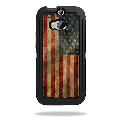 Mightyskins Protective Skin Decal Cover for OtterBox Defender HTC One M8 Case wrap sticker skins Vintage Flag