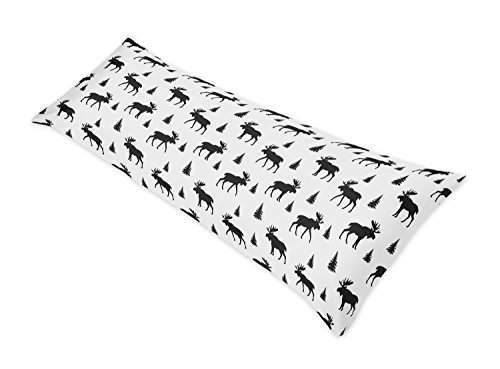 (Sweet Jojo Designs Black and White Woodland Moose Body Case Cover for Rustic Patch Collection (Pillow Not)