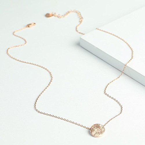 Rose Gold Scratched Disc Necklace