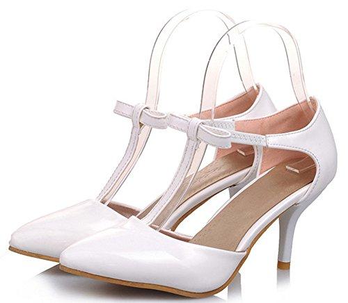 Easemax Dames Elegante Boog Spitse Laag Laag Uitgesneden T-strap Pumps Schoenen Midden Naaldhak Sandalen Wit