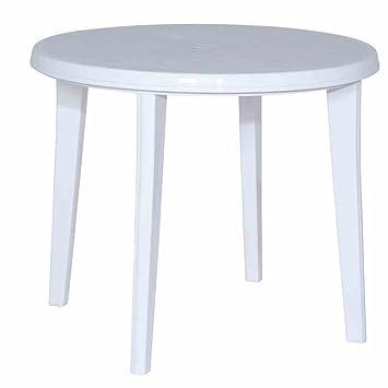 Jardin 137212 Lisa Table en plastique Blanc Ø 90 x H 73 cm: Amazon ...