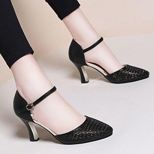 Chaussures Hauts Or Taille Sandales couleur Ms Hwf 35 Talons Femme Simples Été Noir rAzvxZYrqw