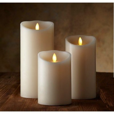 Brightown Candle with Moving Wick, Remote & Timer, Ivory, Set of 3 by Brightown