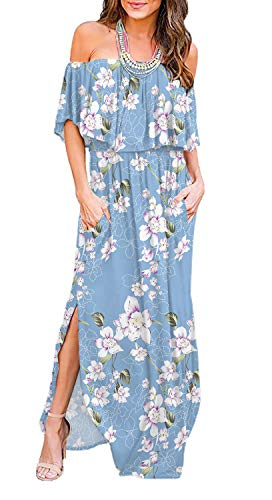 LILBETTER Womens Off The Shoulder Ruffle Party Dresses Side Split Beach Maxi Dress (XL, Flower Light Blue)