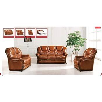 ESF Modern 67 Full Brown Italian Leather Sofa Set Classic Look