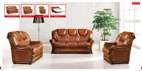 (ESF Modern 67 Full Brown Italian Leather Sofa Set Classic Look)