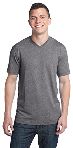 District Threads Young Mens Tri-Blend V-Neck Tee, 4XL, Grey -