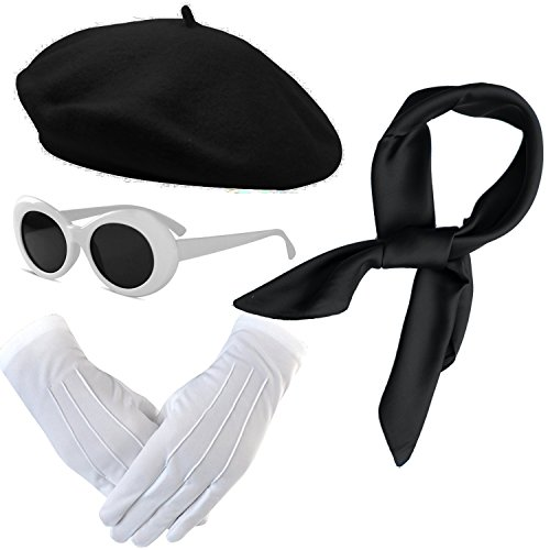 French Themed Costume Accessories Set - Beret Hat,Sheer Chiffon Scarf,Deluxe Theatrical Gloves,Retro Oval Clout Goggles Bold Sunglasses for Womens & Girls (Black)