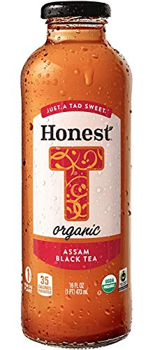 Honest Organic, Naturally Flavored, Just A Tad Sweet, Assam Black Tea, 16 fl oz (12 Glass Bottles)