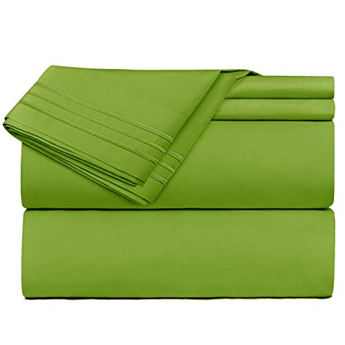 Queen Size Sheets - 4 Piece Queen Garden Green Bed Sheet Set - Hotel Luxury Bed Sheets - Extra Soft Microfiber Sheets - Easy Fit 16