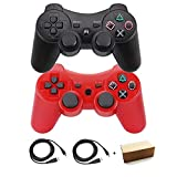 Molgegk 2 Packs Wireless Bluetooth Controller For PS3 Double Shock - Bundled with USB charge cord (Red and Black)