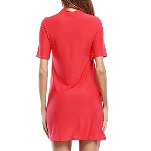 La Moda Ocio Verano Suelto Atractivo Hueca Vestido Pink