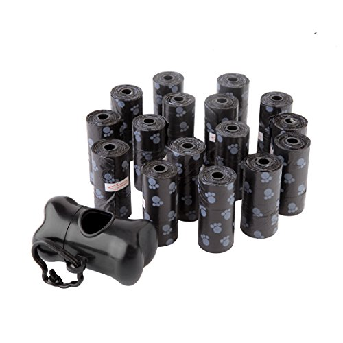 Dog Poop Bag Pet Waste Bags with Dispenser and Leash Clip 240 Count 16 Refill Rolls Black (Pet Black Bags)