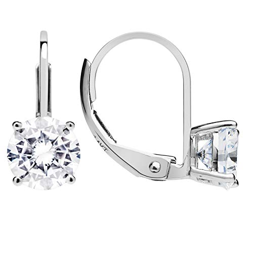 14K Solid White Gold Earrings | Round Cut Cubic Zirconia | Leverback Drop Dangle Basket Setting | 1.68 CTW | With Gift Box Cubic Zirconia Round Drop Earrings