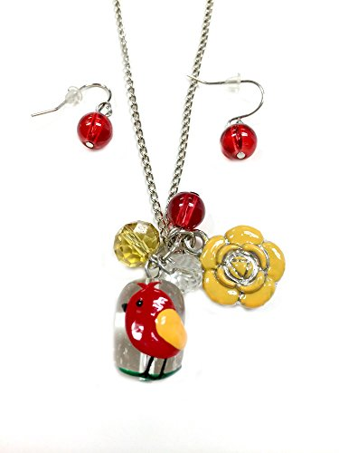Linpeng Fiona Hand Painted Bird and Flower Glass Bead, Crystal Pearl Beads, Flower Charms Necklace and Earrings Set, Red Bird Hand Painted Flower Beads