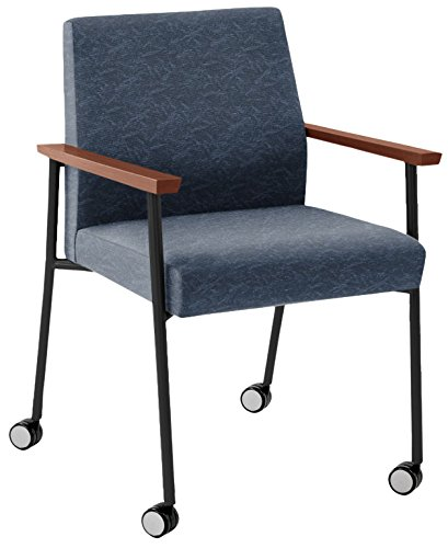 Lesro Mystic Oversize Guest Chair with Casters in Black Frames & Cherry Arms, Heather Bluebell