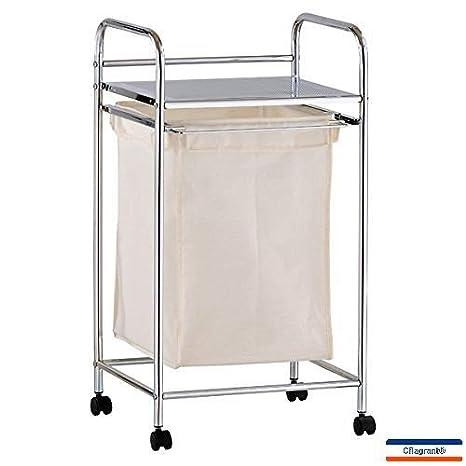 Cflagrant - Cesto para ropa con estante integrado (ruedas de acero cromado y tela, capacidad 25 l)Tamaño: 40 x 72,5 x 33,5 cm.: Amazon.es: Hogar