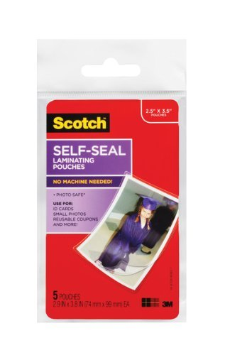 UPC 619271586757, Scotch Self-Sealing Laminating Pouches, Gloss Finish, 2.5 Inches x 3.5 Inches, 5 Pouches, 2-PACK