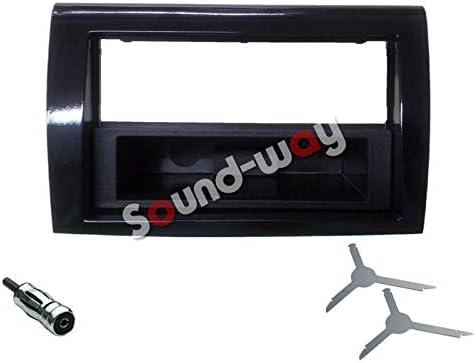 Sound-Way Kit de Montaje Marco Adaptador autoradio 1 DIN/2 DIN para FIAT Bravo 2007-2015 Color Negro Brillante