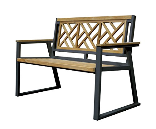 Asta Furniture M2-11D/Blk Asta California Room Teak and Iron 2-Seater Bench - Chippendale (Black) (Frame Teak Plantation)