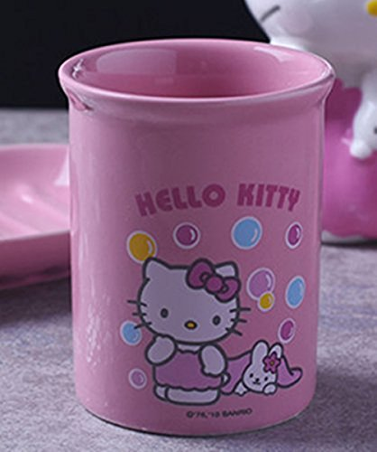 YOURNELO Cartoon Adorable Hello Kitty Ceramic Simple Cute Bathroom Accessories Tumbler Cup Mug (Hello Kitty)