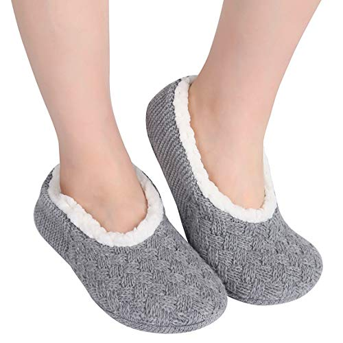 (ChicNChic Women Warm Knit Non Slip Slipper Socks Casual Slip on Socks with Grippers House Socks (10-11 B(M) US, Grey))