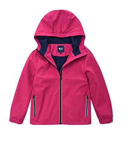 Lined Polyester - M2C Boys & Girls Hooded Outdoor Fleece Lined Waterproof Jacket Pink 7/8