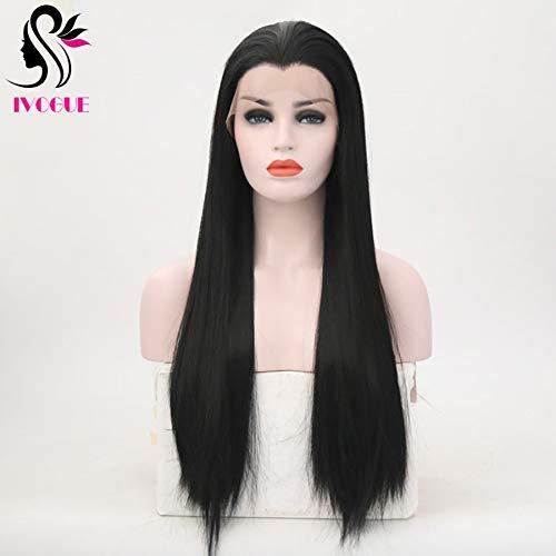 Widows Peak Black Wig - Beauty Tip Synthetic Lace Front Wig Widow's Peak Heat Resistant Fiber Hair Replacement Wigs For Women 13