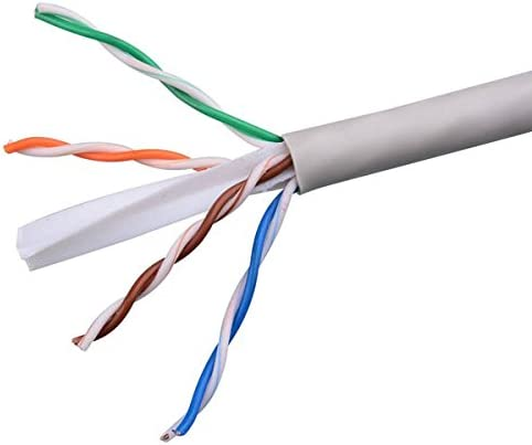 500 FT CAT 6 Plenum Cable Gray 550 MHz Ethernet UTP CMP 23 AWG Solid Copper Conductors Certified 4 Twisted Pair Network FastCat UTP CMP Ethernet Certified UL Listed PVC