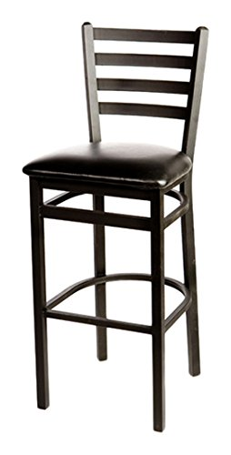 Oak Street SL2301-ESP  Metal Frame Black Ladder Back Bar Stool with Espresso Vinyl Seat, 43